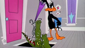 Screenshots from the 1955 Warner Brothers cartoon Stork Naked