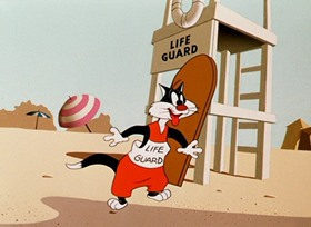Screenshots from the 1955 Warner Brothers cartoon Sandy Claws