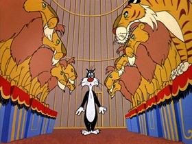 Screenshots from the 1955 Warner Bros. cartoon Tweety