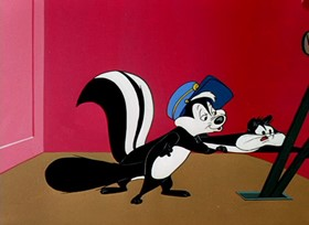 Screenshots from the 1955 Warner Brothers cartoon Two Scent