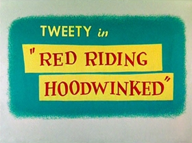 Screenshots from the 1955 Warner Brothers cartoon Red Riding Hoodwinked