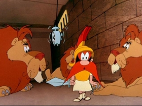 Screenshots from the 1955 Warner Brothers cartoon Roman Legion Hare