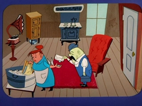 Screenshots from the 1955 Warner Bros. cartoon Heir Conditioned