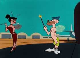 Screenshots from the 1955 Warner Brothers cartoon A Hitch in Time