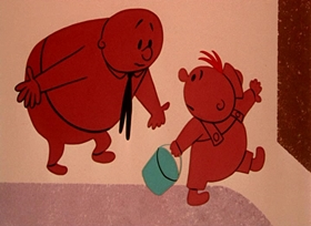Screenshots from the 1955 UPA cartoon Christopher Crumpet