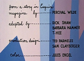 Screenshots from the 1955 UPA cartoon Rise of Duton Lang
