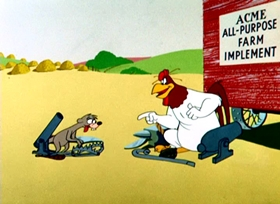 Screenshots from the 1956 Warner Brothers cartoon Weasel Stop