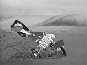 Screenshots from the 1956 Disney cartoon A Day in the Life of Donald Duck