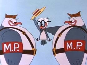 Screenshots from the 1956 Walter Lantz cartoon Pigeon Holed