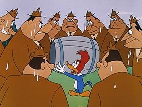 Screenshots from the 1956 Walter Lantz cartoon Niagara Fools