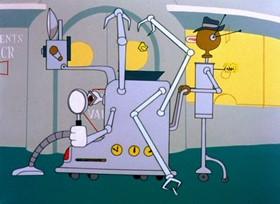 Screenshots from the 1956 Warner Brothers cartoon Rocket Squad