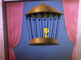 Screenshots from the 1956 Warner Brothers cartoon Tree Cornered Tweety