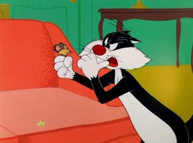 Screenshots from the 1956 Warner Bros. cartoon The Unexpected Pest