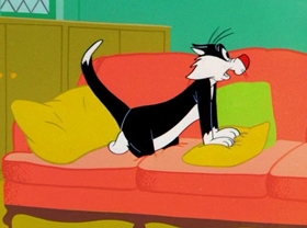 Screenshots from the 1956 Warner Brothers cartoon The Unexpected Pest