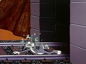 Screenshots from the 1956 Warner Brothers cartoon Half Fare Hare
