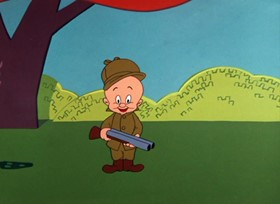 Screenshots from the 1956 Warner Brothers cartoon Wideo Wabbit