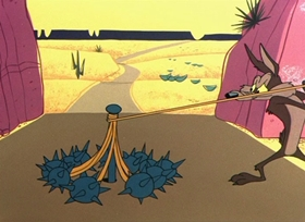 Screenshots from the 1956 Warner Brothers cartoon There They Go-Go-Go