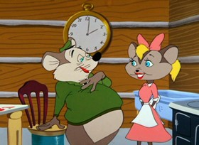 Screenshots from the 1956 Warner Brothers cartoon The Honey-Mousers