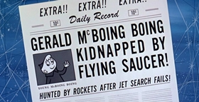 Screenshots from the 1956 UPA cartoon Gerald McBoing Boing on Planet Moo