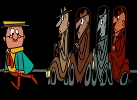 Screenshots from the 1956 UPA cartoon The Jaywalker