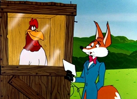 Screenshots from the 1957 Warner Brothers cartoon Fox Terror