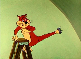 Screenshots from the 1957 Warner Brothers cartoon Cheese It, The Cat!