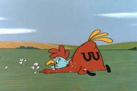 Screenshots from the 1957 Walter Lantz cartoon Fowled-Up Party