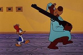 Screenshots from the 1957 Walter Lantz cartoon The Unbearable Salesman