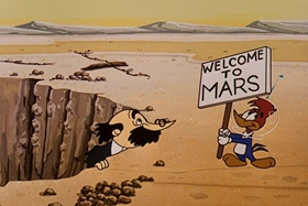 Screenshots from the 1957 Walter Lantz cartoon Round Trip to Mars