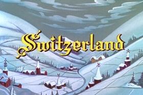 Screenshots from the 1957 Walter Lantz cartoon Swiss Miss-Fit