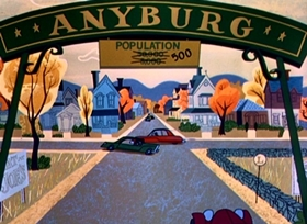 Screenshots from the 1957 Disney cartoon The Story of Anyburg USA