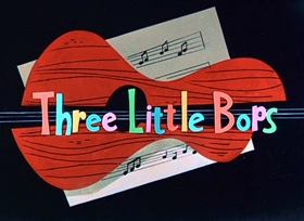 Screenshots from the 1957 Warner Brothers cartoon Three Little Bops