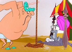 Screenshots from the 1957 Warner Brothers cartoon Ali Baba Bunny