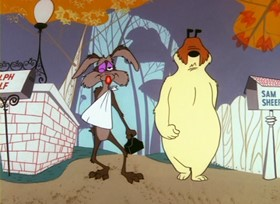 Screenshots from the 1957 Warner Brothers cartoon Steal Wool