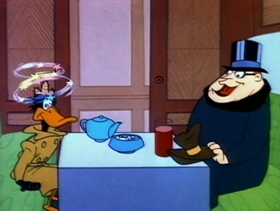 Screenshots from the 1957 Warner Brothers cartoon Boston Quackie