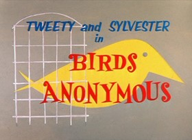 Screenshots from the 1957 Warner Brothers cartoon Birds Anonymous