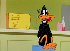 Screenshots from the 1957 Warner Brothers cartoon Ducking the Devil