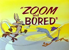 Screenshots from the 1957 Warner Brothers cartoon Zoom and Bored