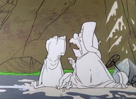 Screenshots from the 1957 Warner Brothers cartoon Touche and Go