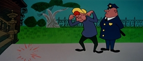 Screenshots from the 1957 UPA cartoon Magoo