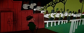 Screenshots from the 1957 UPA cartoon Magoo Saves the Bank