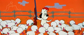 Screenshots from the 1958 MGM cartoon Sheep Wrecked