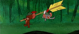 Screenshots from the 1958 MGM cartoon Robin Hoodwinked