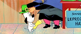 Screenshots from the 1958 MGM cartoon Droopy Leprechaun