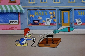 Screenshots from the 1958 Walter Lantz cartoon Misguided Missile