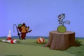 Screenshots from the 1958 Walter Lantz cartoon Three-Ring Fling