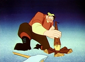 Screenshots from the 1958 Disney cartoon Paul Bunyan