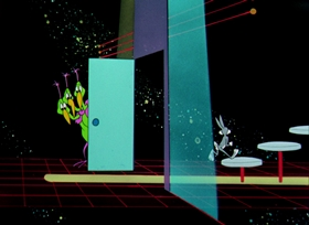 Screenshots from the 1958 Warner Brothers cartoon Hare-Way To The Stars