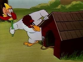 Screenshots from the 1958 Warner Brothers cartoon Feather Bluster