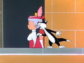 Screenshots from the 1958 Warner Brothers cartoon A Bird in a Bonnet